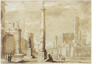Italianiserend stadsgezicht met obelisk en figuren