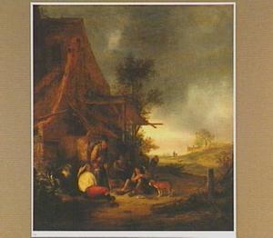 Rustende en rokende figuren voor een herberg