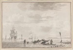 Zeegezicht met vissers en driemasters