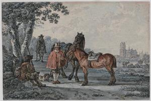 Landschap met ruiters en jager, op de achtergrond Dordrecht