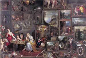 Interieur van een kunstkamer met allegorische vrouwen voor de Reuk en het Gezicht