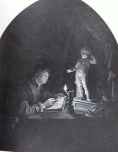 Kunstenaar die een sculptuur van een putto natekent bij kaarslicht