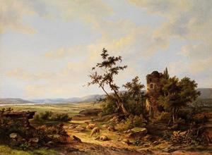 Grazende en rustende schapen nabij een ruïne, met weilanden en een rivier in de verte