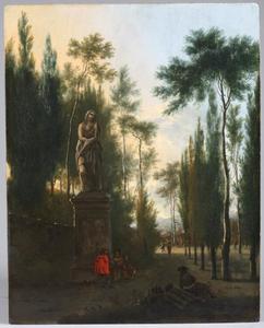 Parklandschap met elegante figuren bij een standbeeld