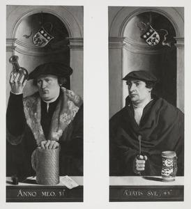 Portret van een man die een fles urine bekijkt (links); Portret van een man met een spatel in de rechterhand (rechts)