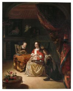 Rijk interieur met een jonge vrouw en een bediende bij haar toilet
