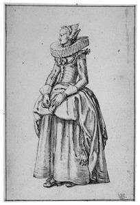 Staande vrouw met molensteenkraag
