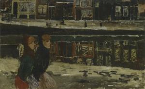 Twee vrouwen op de Lauriergracht in Amsterdam