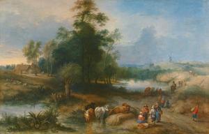 Landschap met veedrijvers die hun vee water geven