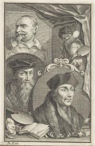 Portretten van Desiderius Erasmus (1467-1536), David Jorisz. (1501-1556) en Jan Snellinck (....-1638)