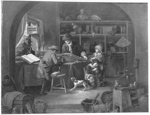 Alchemist met assistenten in zijn werkplaats