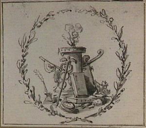 Altaar met brandend offer, Mercuriusstaf, boeken, roer en inktpot, in een lauwerkrans