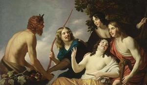 Sater presenteert vruchten aan een gezelschap van vier jonge mensen met muziekinstrumenten en een boog