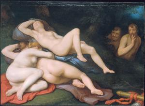 De slapende Diana en haar metgezellinnen bespied door saters