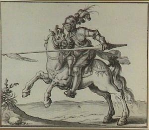 Geharnaste ruiter te paard met lans