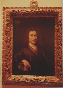 Portret van Johannes Reeland (1648-1703), de rechterarm op een dik boek geleund