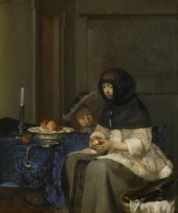 Interieur met een vrouw die appels schilt en een kind