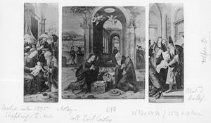 De aanbidding van de Wijzen (links), de geboorte (midden), de presentatie (rechts)
