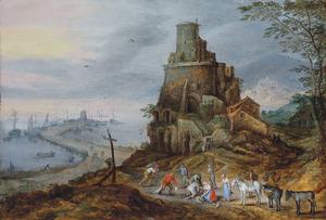 Kustlandschap met vissers die hun vangst verkopen bij een vervallen toren