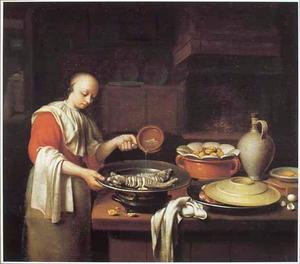 Keukenstuk met huisvrouw die vis bereid