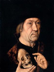 Portret van een man met een zwarte baret en een doodshoofd in de hand