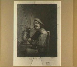 Trompe l'oeil met een gravure van 'De drinker' naar David Teniers (II)