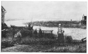 Gezicht op de polder met kinderen spelend in een boot en een vrouw die een emmer water draagt, op de voorgrond