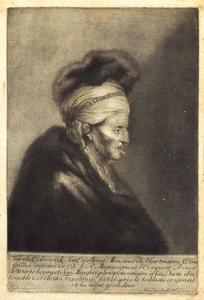 Tronie van een oude man met tulband en bontkraag