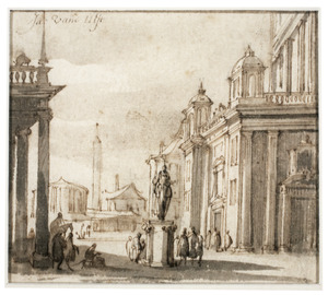 Capriccio van een Romeins stadsgezicht