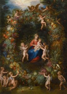 Voorstelling van Maria met kind in een vruchten- en groentenkrans, opgehouden door putti
