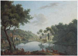 Boomrijk rivierlandschap met huizen langs de oever en een fruitverkoper
