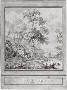 Behangselvlak met omlijsting en lambrisering met een arcadisch landschap met een stroomversnelling