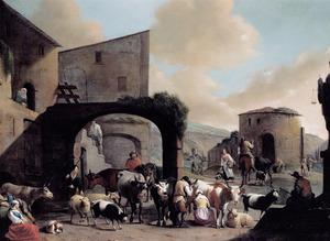 Zuidelijk landschap met herders en hun kudde bij ruïnes