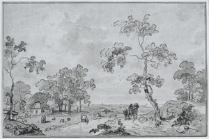 Landschap met boerderij bij een rivier en een boerenwagen op een landweg
