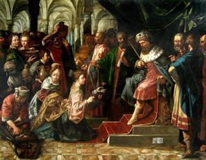 De koningin van Seba komt voor Salomo met een talrijk gevolg en brengt vele geschenken  (1 Koningen 10:1-2; 2 Kronieken 9:1-2)