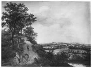 Heuvellandschap met boerin en ezel op een weg