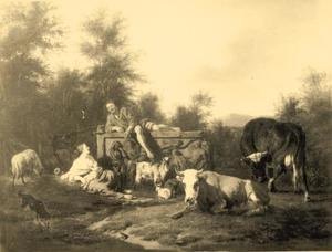 Italianiserend landschap met een herder, liggend op een sarcofaag en een herderin die een kind de borst geeft