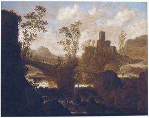 Zuidelijk landschap met een brug over een waterval, daarachter een kasteel op een bergtop