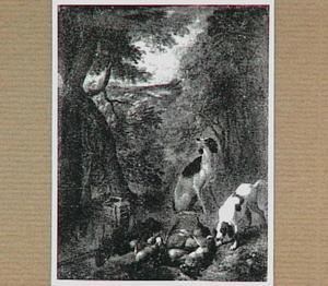 Twee honden bij jachtbuit in een landschap