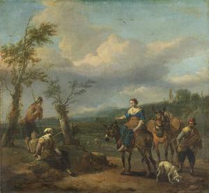 Zuidelijk landschap met reizigers en ezels