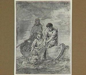Lazarillo wordt in een vissersnet uit het water getrokken (Lazarillo de Tormes dl. 2, cap. 4, p. 68)