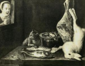 Stilleven van dode dieren met een kat betrapt door een vrouw