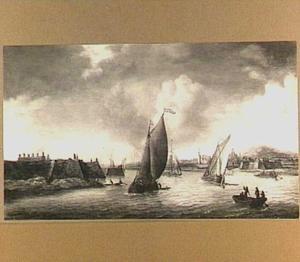 Schepen op de Rijn bij Pannerden