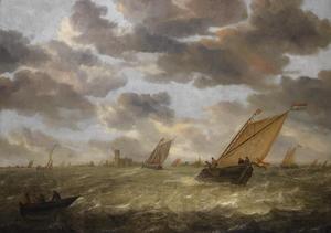 Hollands schip bij harde wind met een gezicht op Dordrecht in de verte