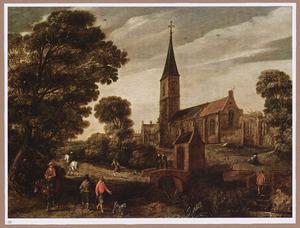 Landschap met ruiters en wandelaars bij een vervallen kerkgebouw