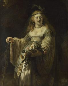 Portret van Saskia van Uylenburgh in arcadisch costuum