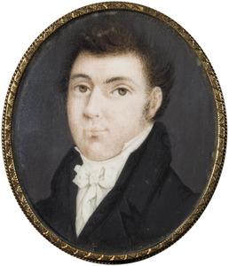 Portret van een man, mogelijk Adrianus Conijn (1798-1895); op de achterzijde een landschapje
