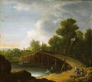 Een landschap met een brug