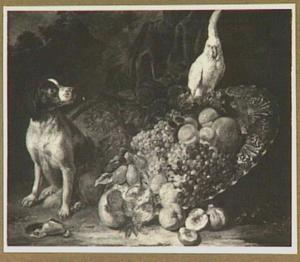 Vruchtenstilleven met hond en papagaai