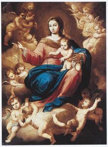 De Madonna en het Kind delen rozenkranzen uit vanuit de hemel